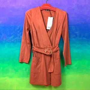 zara trf collection • brown faux suede romper s